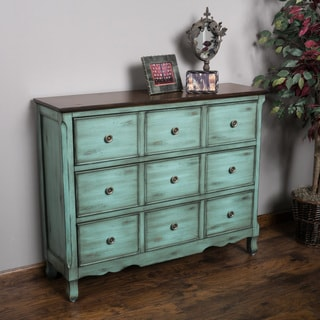 Christopher Knight Home Rainier Three-Drawer Antique Teal Wood Cabinet