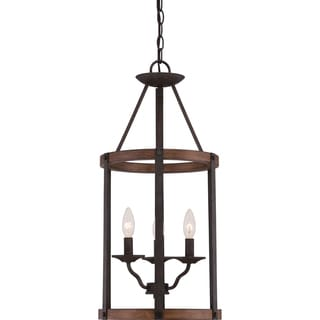 Quoizel Fixture - Planter 3-light Rustic Black Cage Chandelier