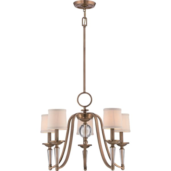 Uptown Empire 5-light Weathered Brass Chandelier