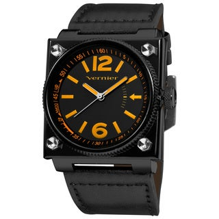 Vernier Men's Orange Aviation Black Strap Watch