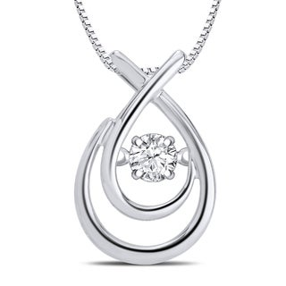 Sterling Silver 1/10ct TDW Dancing Diamond Fashion Teardrop Necklace (I-J, I3)