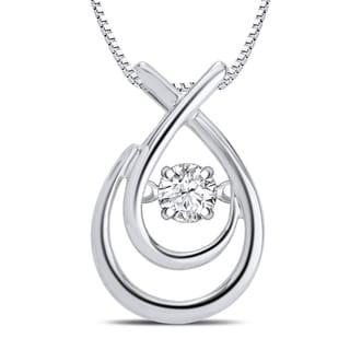 Sterling Silver 1/10ct TDW Dancing Diamond Fashion Teardrop Necklace (I-J, I3)