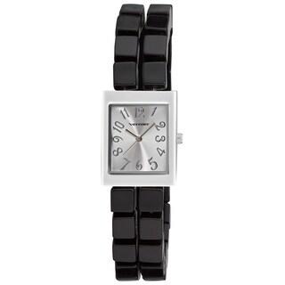 Vernier Women's Square Black Resin Beaded Bracelet Quartz Watch