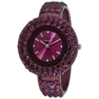Vernier Women's Purple Glitz Crystal Round Bangle Watch