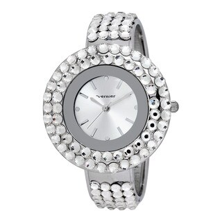 Vernier Women's Clear Glitz Crystal Silver Round Bangle Watch