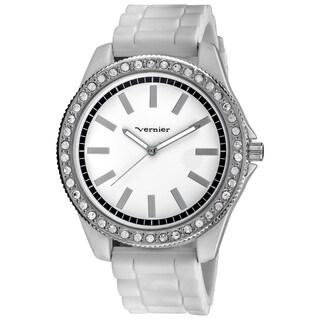 Vernier Women's Oversized Crystal Stone Bezel White Silicone Strap Quartz Watch