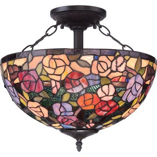 Rosa Tiffany Style 3-light Flush Mount
