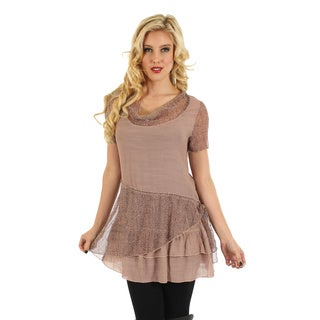 Firmiana Women's Brown Short Sleeve Layered Ruffles/ Lace Top