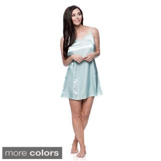Aegean Apparel Women's Solid Satin Chemise with Lace Neckline