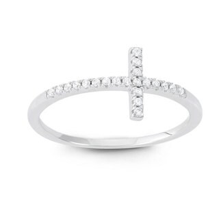 Sterling Silver Cubic Zirconia Sideways Cross Ring