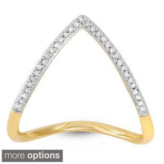 Sterling Silver 1/10ct TDW Diamond Chevron 'V' Ring (H-I, I3)
