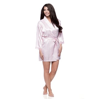 Aegean Apparel Women's Seafolly Beach Stripe Print Satin Robe with Lace Trim
