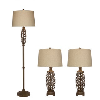 Natural Metal Cage Lamp (Set of 3)