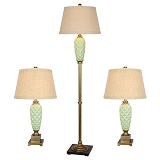 Antique Gold Metal/ Blue Pineapple Ceramic Lamp (Set of 3)
