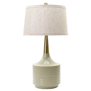 Heather with Antique Brass Neck 30-inch Ceramic Table Lamp