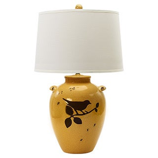 Shabby Amber Crackle with Bird 28-inch Ceramic Table Lamp