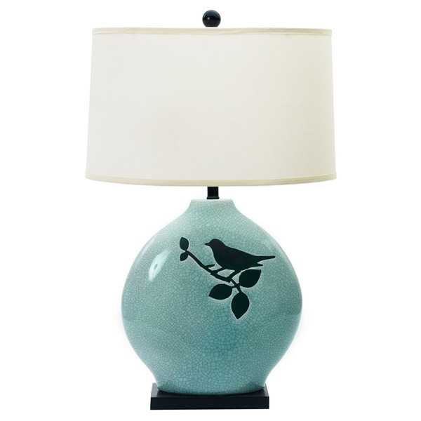 Spa Blue Crackle w/ Bird 30-inch Ceramic Table Lamp
