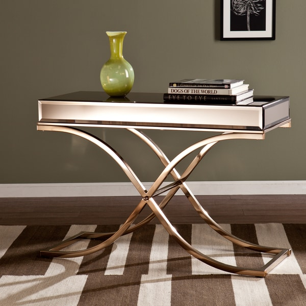 Upton home annabelle champagne mirrored sofa console table 17187439 shopping - Mirrored console table overstock ...