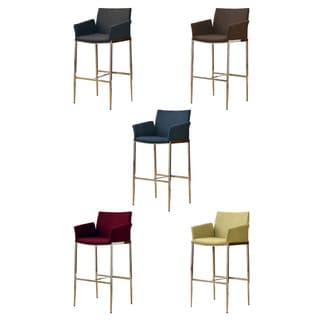 Mcguire Upholstered Bar Stools With Chrome Legs (Set of 2)