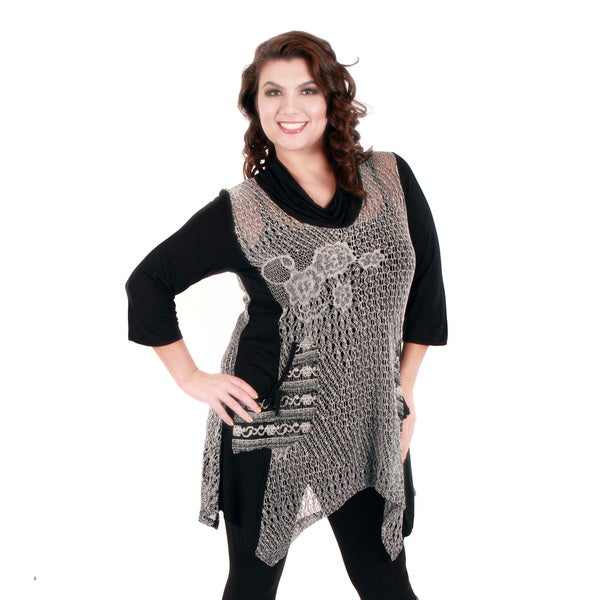Firmiana Women's Plus Size Long Sleeve Black Grey Crocheted Top with Cowl Neck