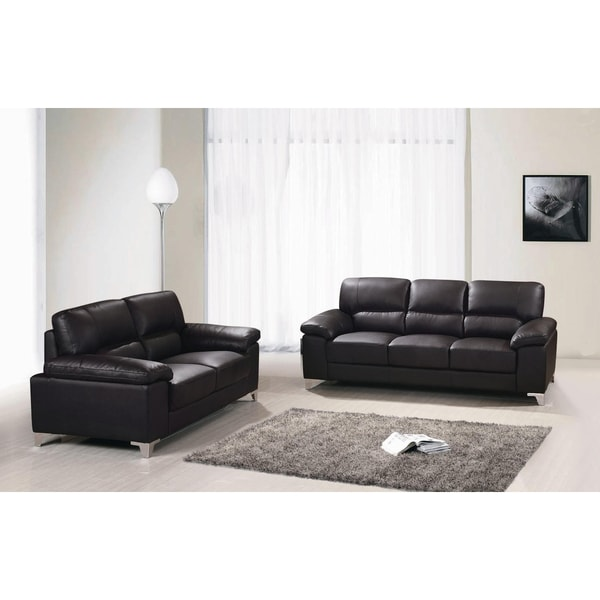GORDEN SOFA SET TOP GRAIN LEATHER MATCH