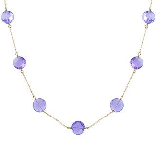 14KY Amethyst tincup necklace 17'' 8mm