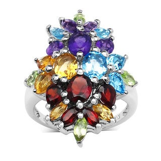 Malaika Sterling Silver Multi-gemstone Cluster Ring