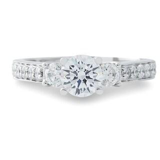 14k White Gold 1/2ct TDW Diamond and Cubic Zirconia 3-stone Engagement Ring