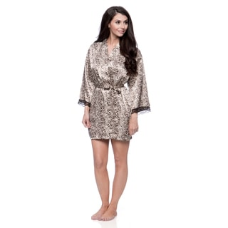 Aegean Apparel Women's Leopard Print Satin Robe with Lace Trim