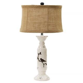 Shabby Eggshell Crackle w/ Bird 28-inch Ceramic Table Lamp