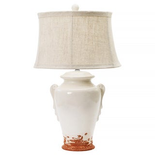 Eggshell with Terracotta 28-inch Ceramic Table Lamp