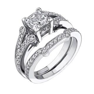 ELMA-GIL 18k White Gold 1/2ct TDW Diamond Semi Mount Engagement Set (G-H, VS1-VS2)