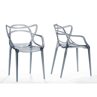 Set of 2 Electron Plastic Contemporary Dining Chair-Smoke
