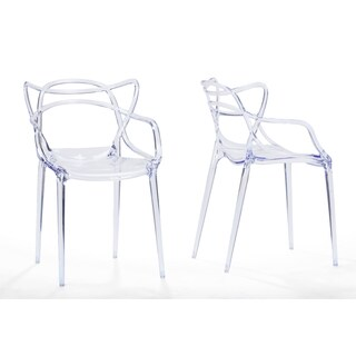 Set of 2 Electron Plastic Contemporary Dining Chair-Clear