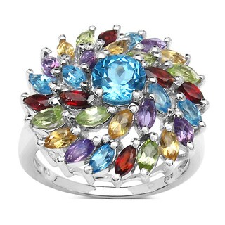 Malaika Sterling Silver Swiss Blue Topaz Multi-gemstone Ring