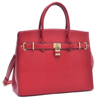 Dasein Faux Leather Padlock and Key Satchel with Shoulder Strap