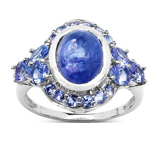 Malaika Sterling Silver Oval-cut Tanzanite Ring