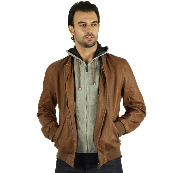 Men Premium Faux Leather Jacket with Detachable Hoodie
