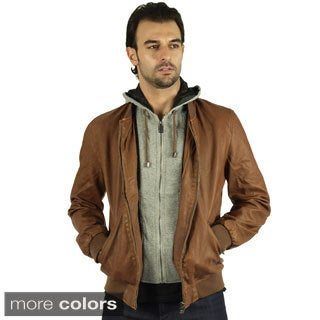Men Premium Faux Leather Jacket with Detachable Hoodie
