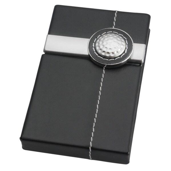 Visol Flite Aluminum Faux Black Leather Golf Ball Business Card Case