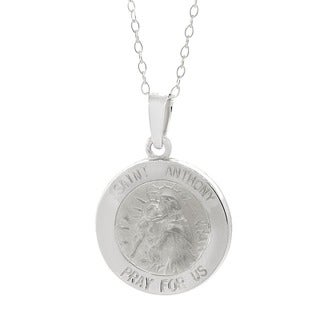 Italian Sterling Silver Saint Medallion Charm Necklace