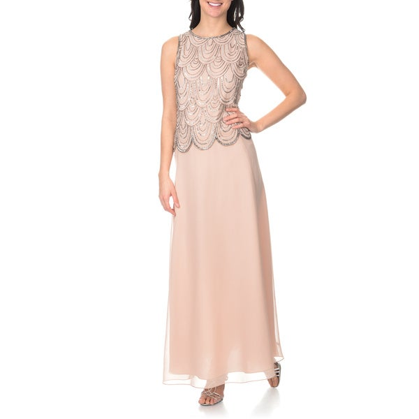 J Laxmi Women's Blush/ Mercury Mock 2-piece Gown