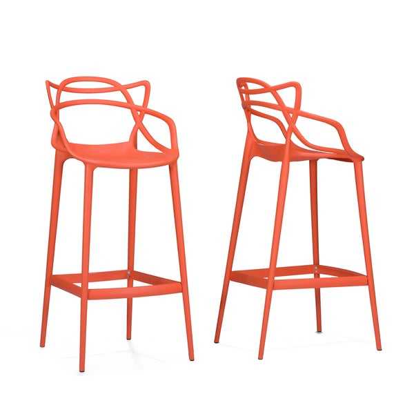 Electron Plastic Contemporary Orange Bar Stools 17187714