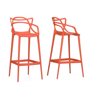 Electron Plastic Contemporary Orange Bar Stools