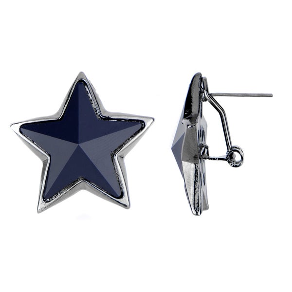 Brass Navy Star Earrings