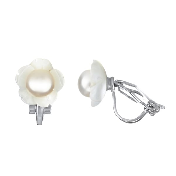 Zinc Alloy Pearl Flower Clip On Earrings