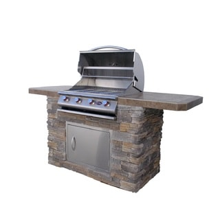 Cal Flame Bistro 470 Natural Stone BBQ Island with 4-burner Grill