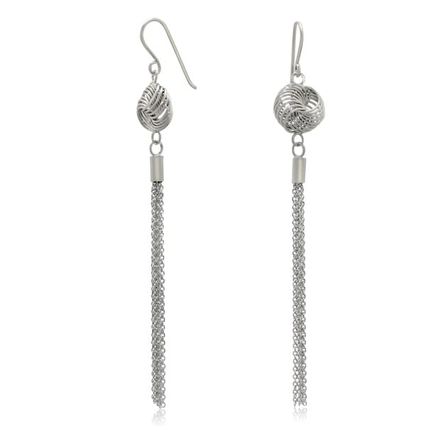 Gioelli Sterling Silver Designer Love Knot Tassel Dangle Earrings