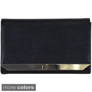 Halston Leather Metal Tab Clutch with Chain Strap