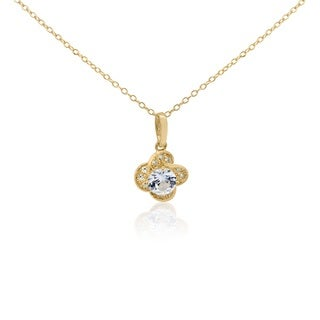 Gioelli Yellow Goldplated Sterling Silver White Sapphire Flower Necklace